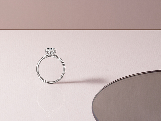 Two Hearts Diamond Ring in Rose Gold