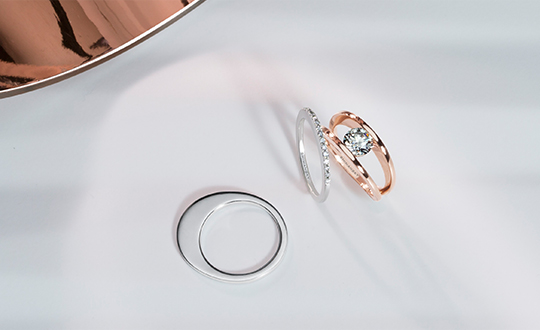Millennium Ring in Rose Gold and Wedding Bands in White Gold