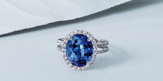 Oval Shape Tanzanite Micro set Diamond Ring