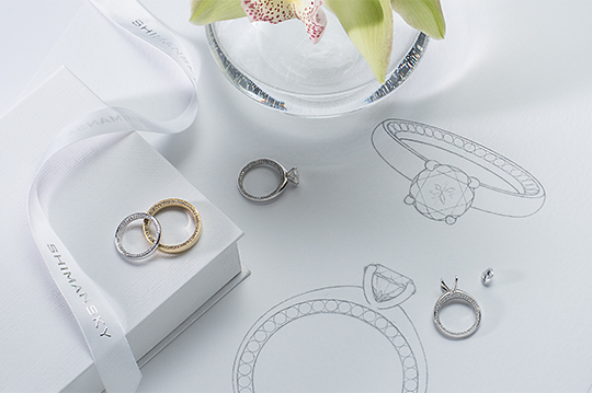 Circle of Love Engagement Ring and Matching Wedding Bands