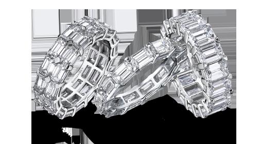 Shimansky Emerald Cut Diamond Full Eternity Rings