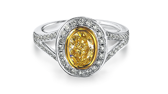Shimansky Oval Shape Fancy Yellow Diamond Ring