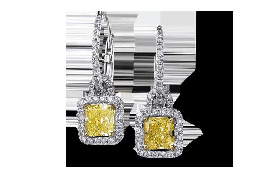 Shimansky Fancy Yellow Radiant Cut Diamond Earrings
