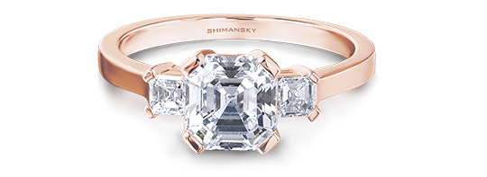 Shimansky Square Emerald Diamond Trilogy Ring