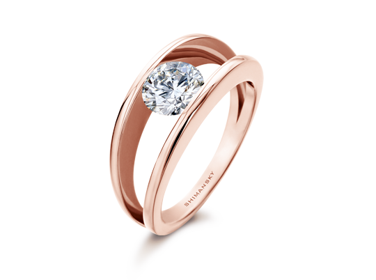 Shimansky Rose Gold Engagement Ring