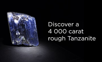 4000 carat rough tanzanite on display at Shimansky Cape Town