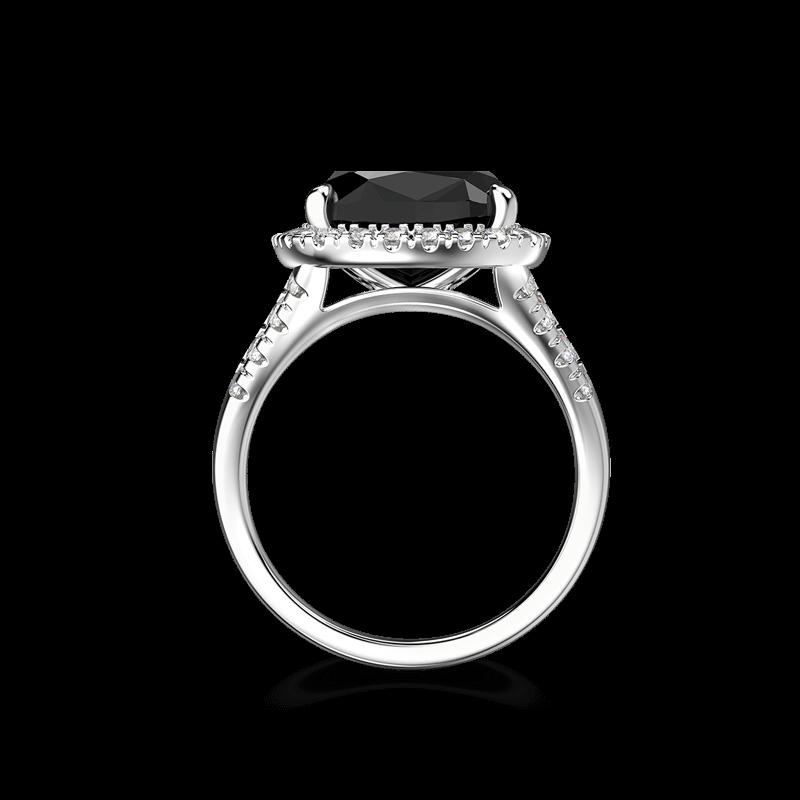 Black Diamond Cushion Halo Ring | Shimansky