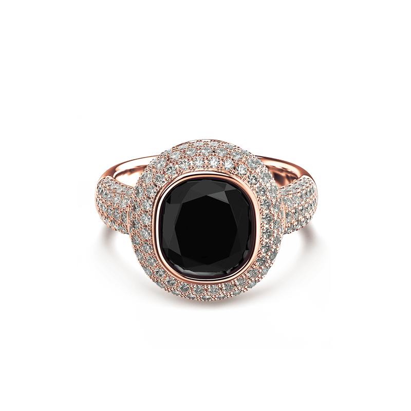 Black Diamond Cushion Ring Rose Gold | Shimansky