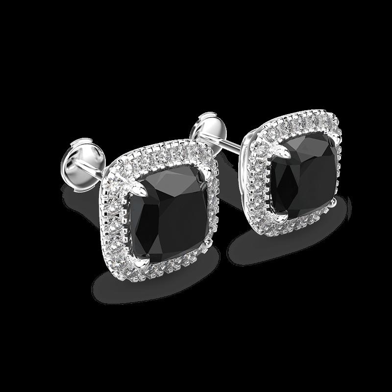 Black Diamond Cushion halo Earrings   Shimansky