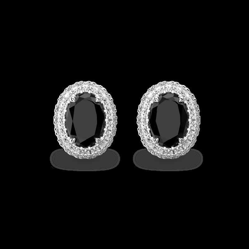 Black Diamond Oval Halo Earrings   Shimansky