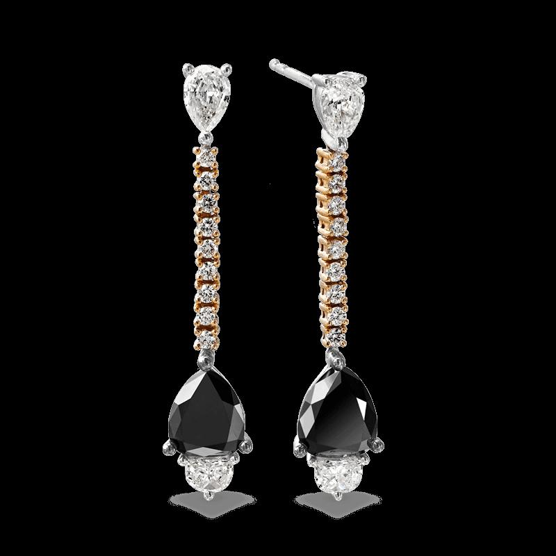 Black Diamond Pear Drop Earrings | Shimansky