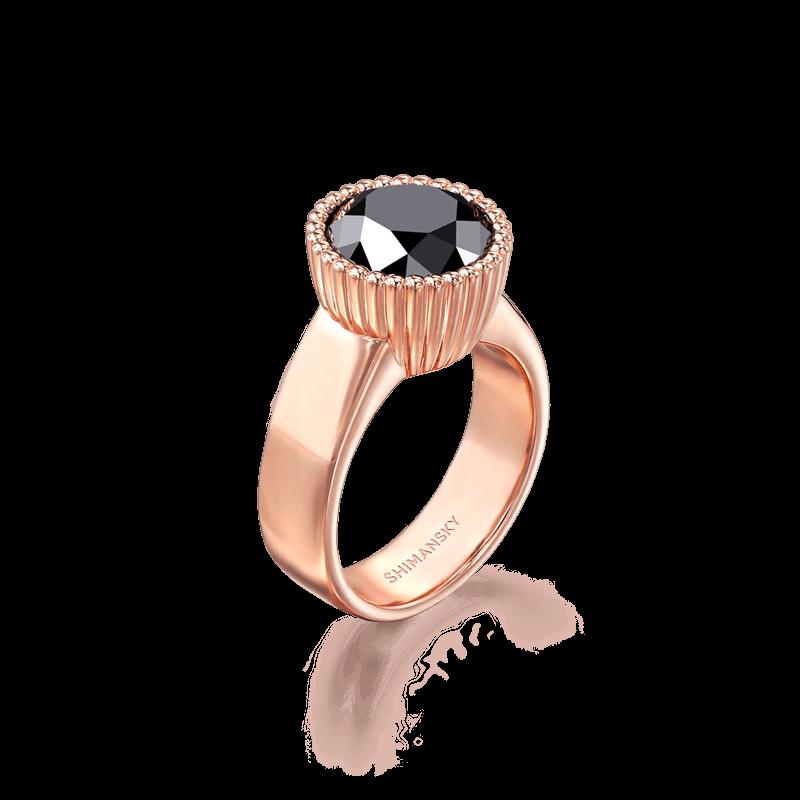 Black Diamond Round Halo ring | Shimansky