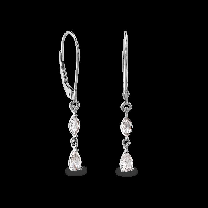 Dangling Earrings 2 Marquise 14K White | Shimansky