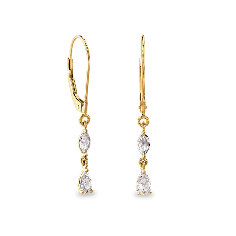 Dangling Earrings 2 Marquise 14K Yellow | Shimansky