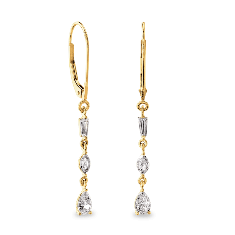 Dangling Earrings 3 Emerald 14K Yellow| Shimansky