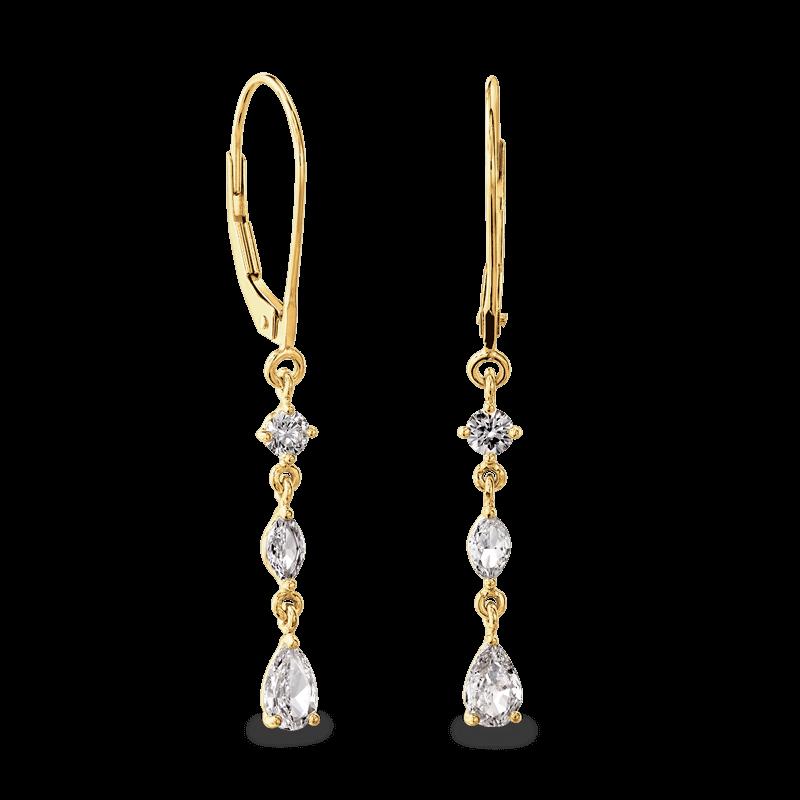 Dangling Earrings 3 Round 14K White | Shimansky