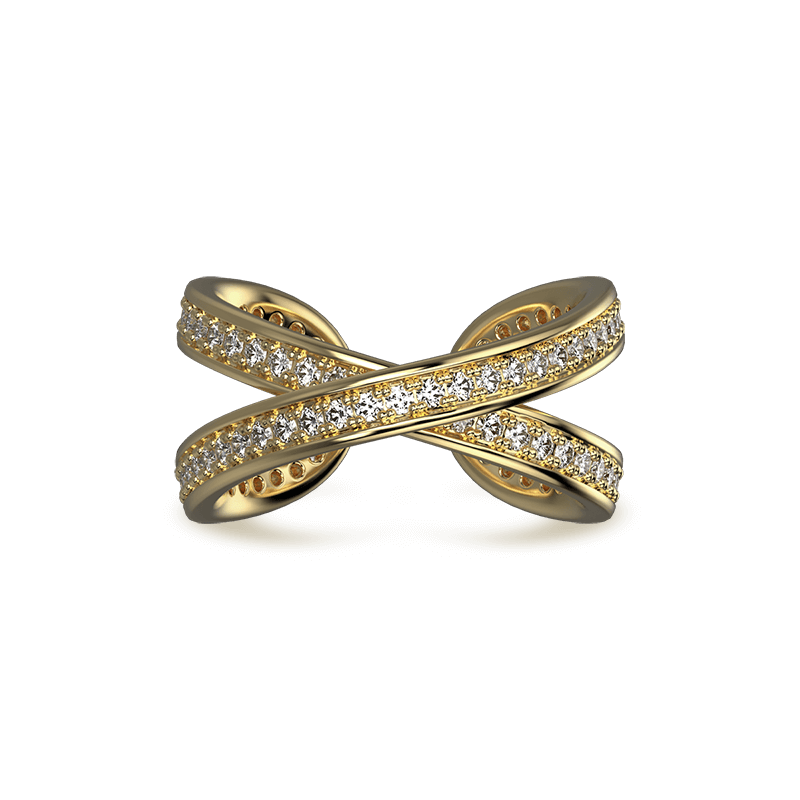 Infinity Classic Pave Ring 18K Yellow Gold | Shimansky