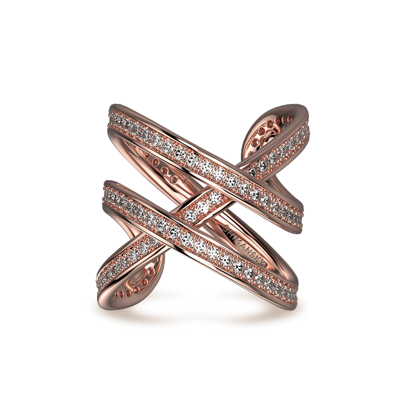 Infinity Double Pave Ring 18K Rose Gold | Shimansky