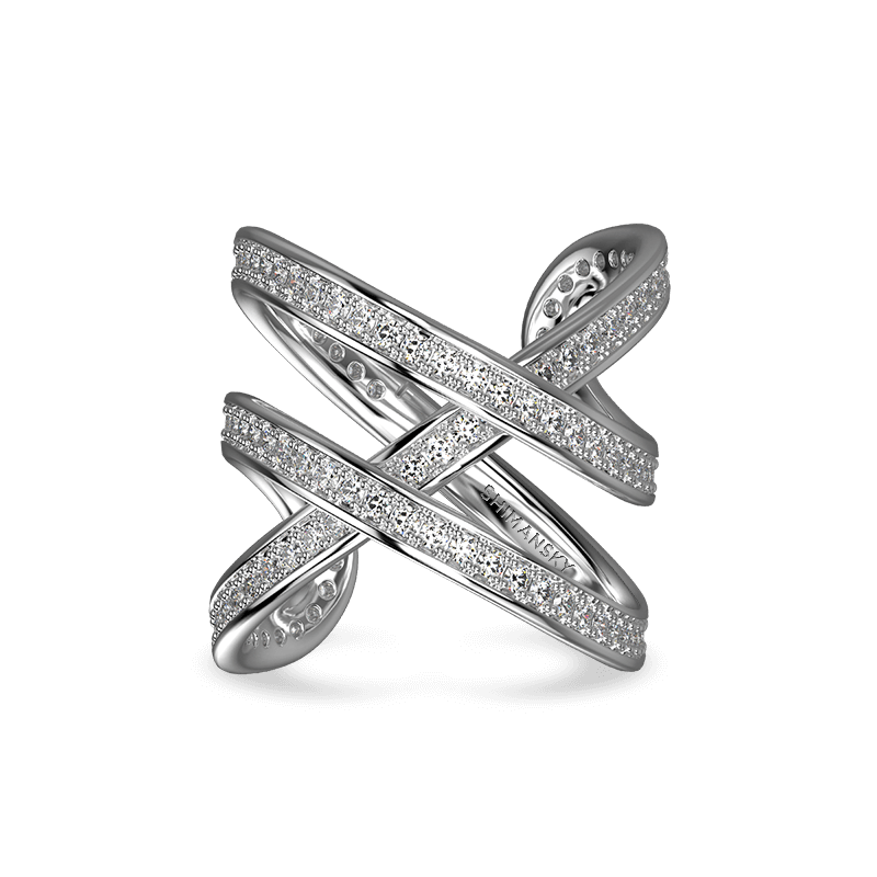 Infinity Double Pave Ring 18K White Gold | Shimansky