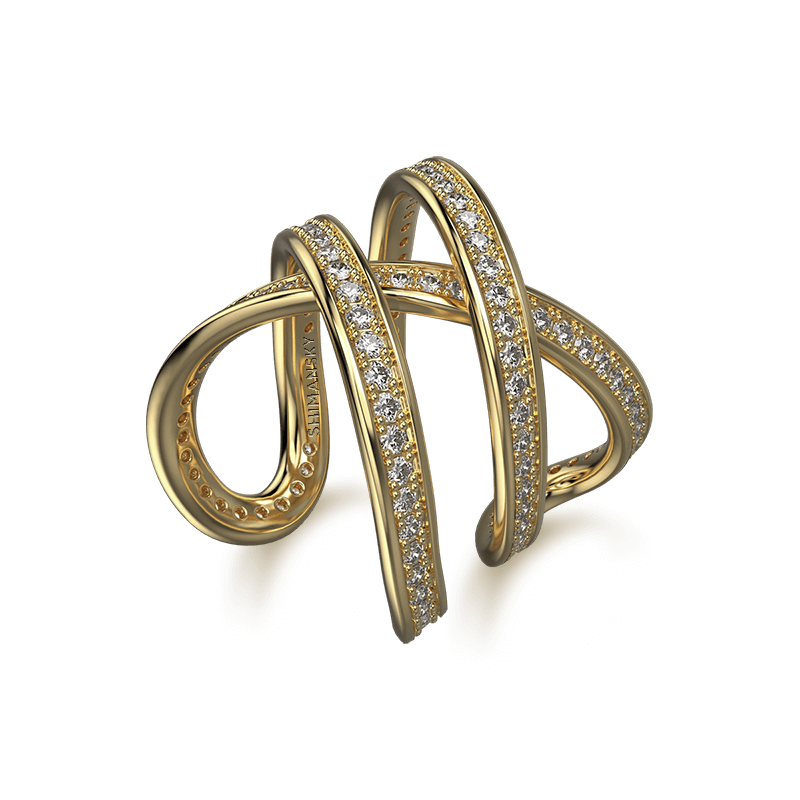 Infinity Double Pave Ring 18K Yellow Gold | Shimansky