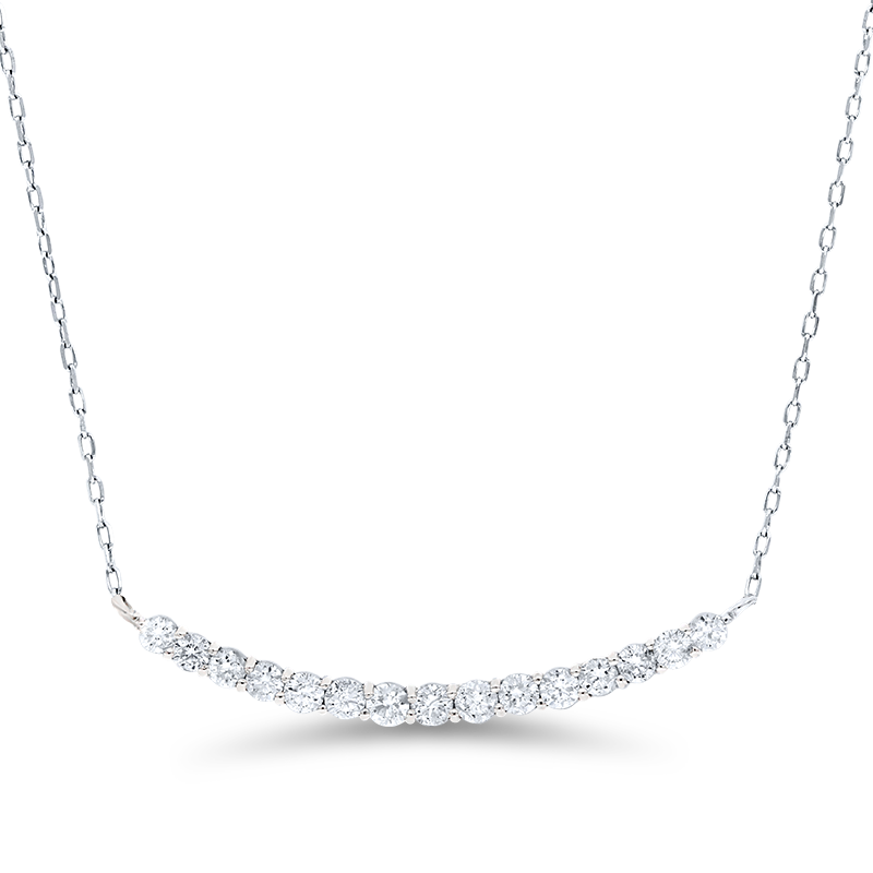Curved Fifteen Stone White Gold Diamond Pendant