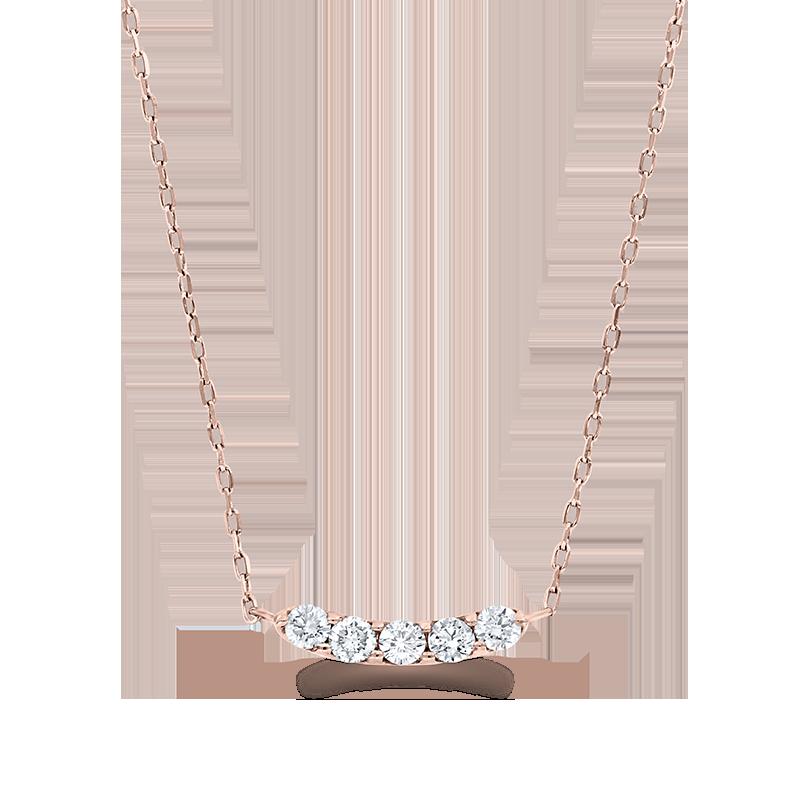 Curved Five Stone Rose Gold Diamond Pendant