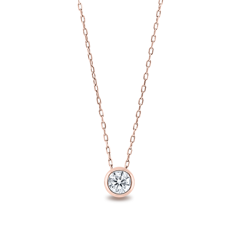 Tube Set Round Brilliant Cut Diamond Pendant Rose Gold