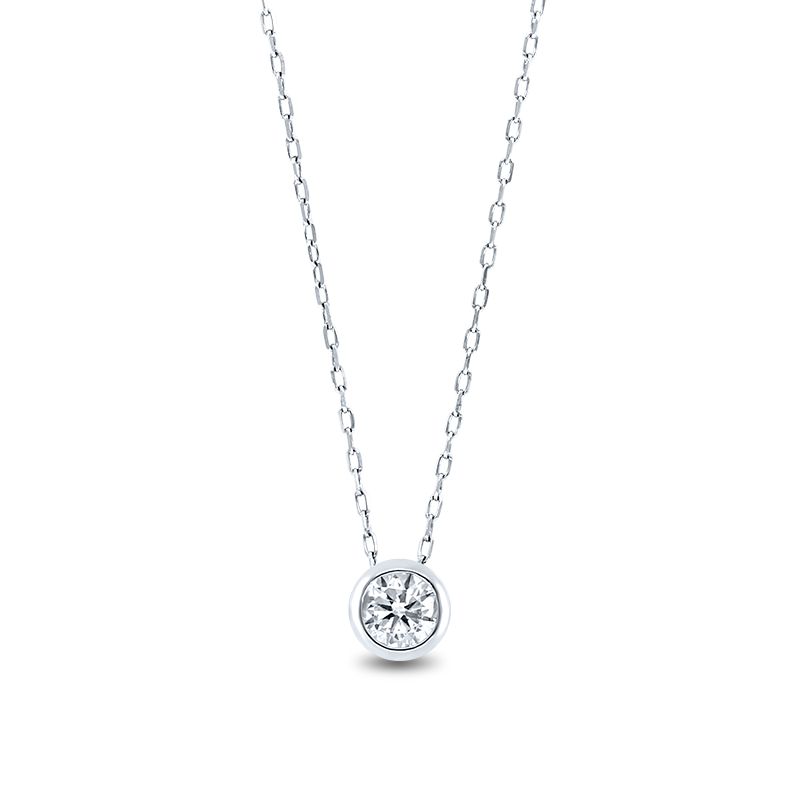 Tube Set Round Brilliant Cut Diamond Pendant White Gold