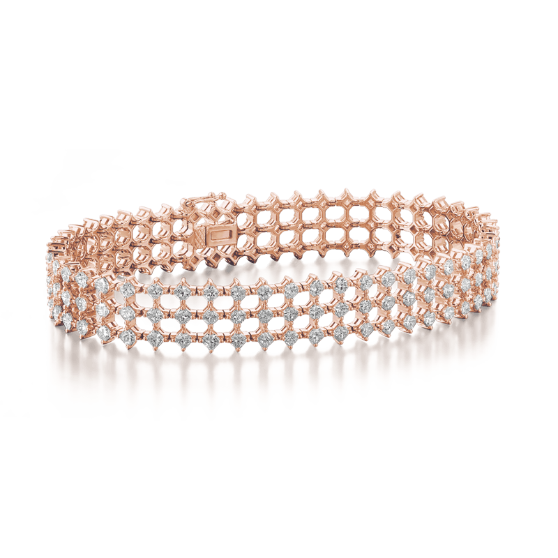 My Girl Diagonal Triple Row Bracelet 18K Rose Gold | Shimansky