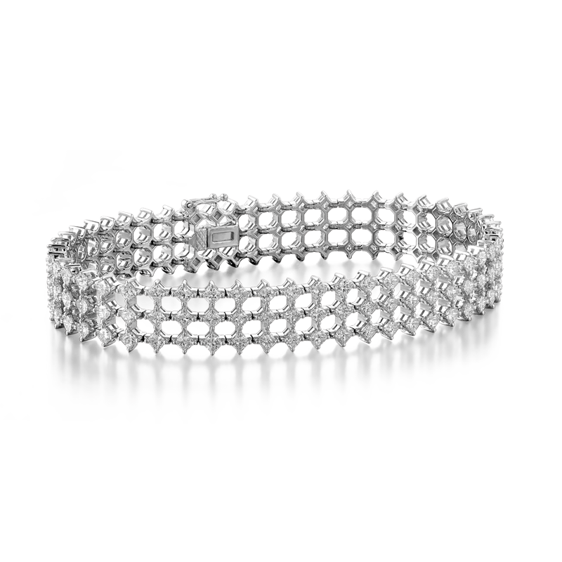 My Girl Diagonal Triple Row Bracelet 18K White Gold | Shimansky