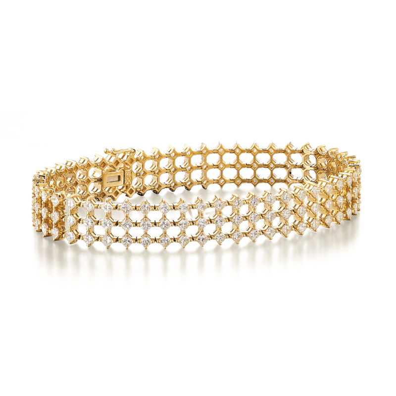 My Girl Diagonal Triple Row Bracelet 18K Yellow Gold | Shimansky