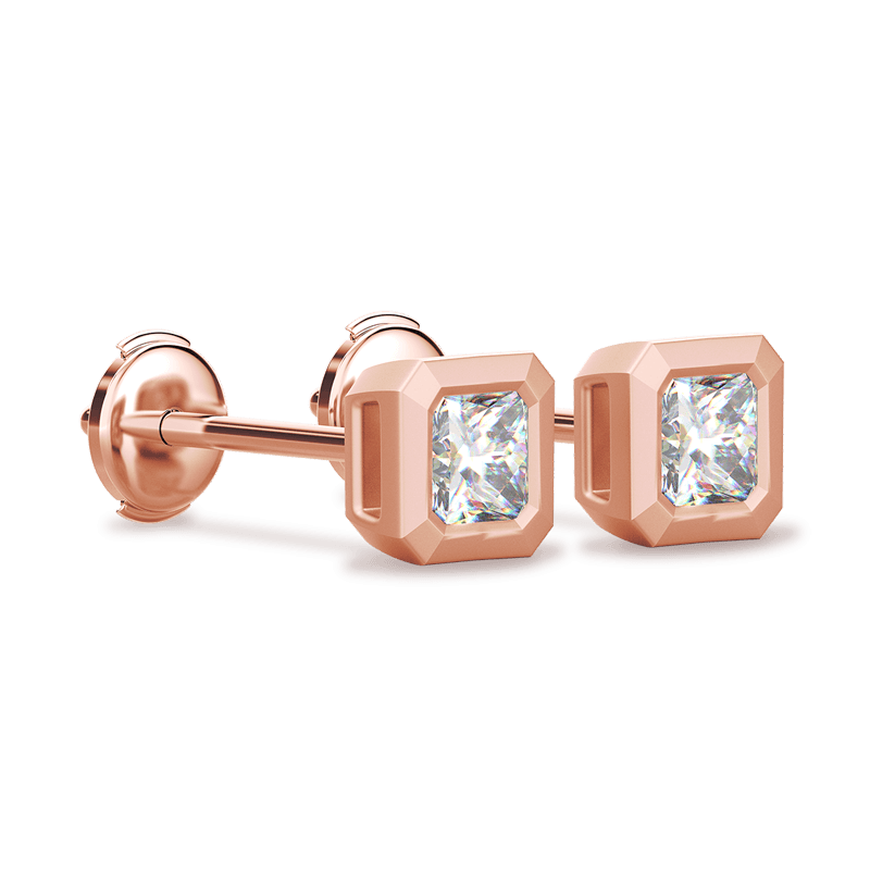 My Girl Tube Set Brushed Earrings 18K Rose Gold | Shimansky