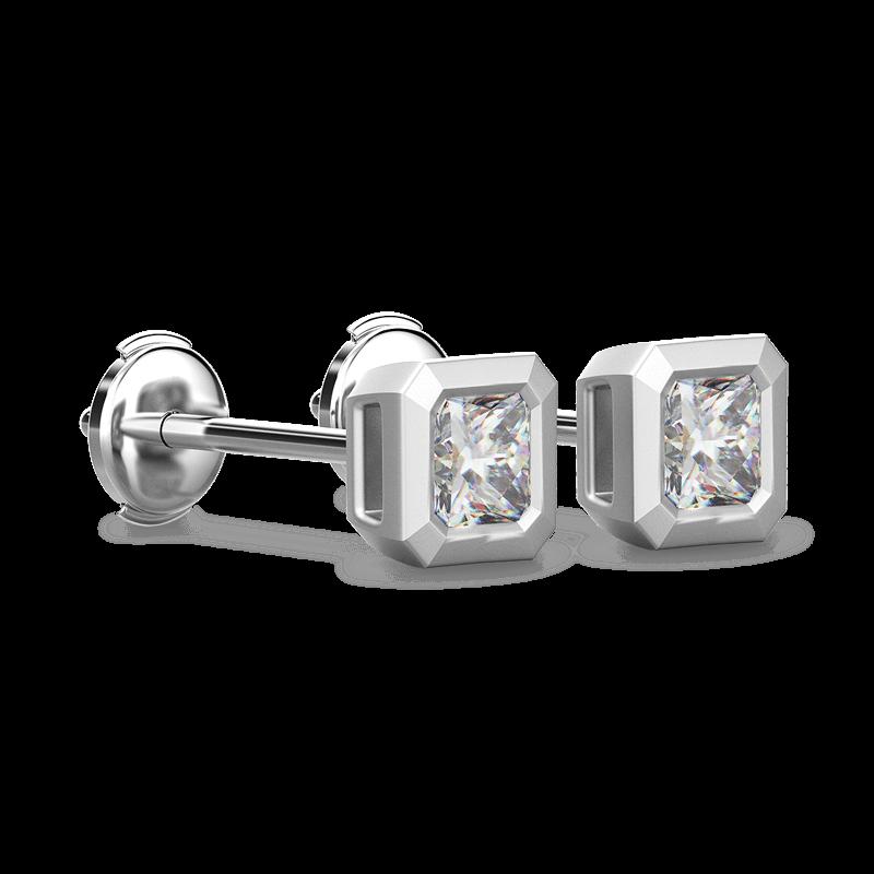 My Girl Tube Set Brushed Earrings 18K White Gold | Shimansky