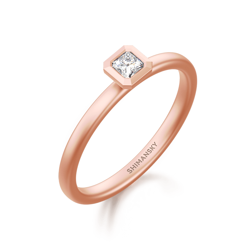 My Girl Tube Set Brushed Ring 18K Rose Gold | Shimansky