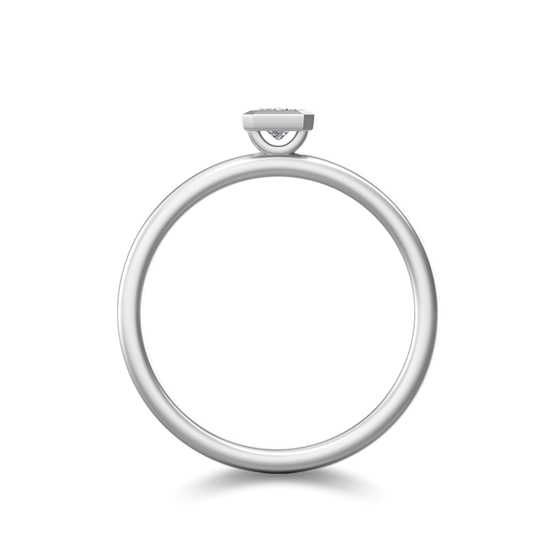 My Girl Tube Set Brushed Ring 18K White Gold | Shimansky