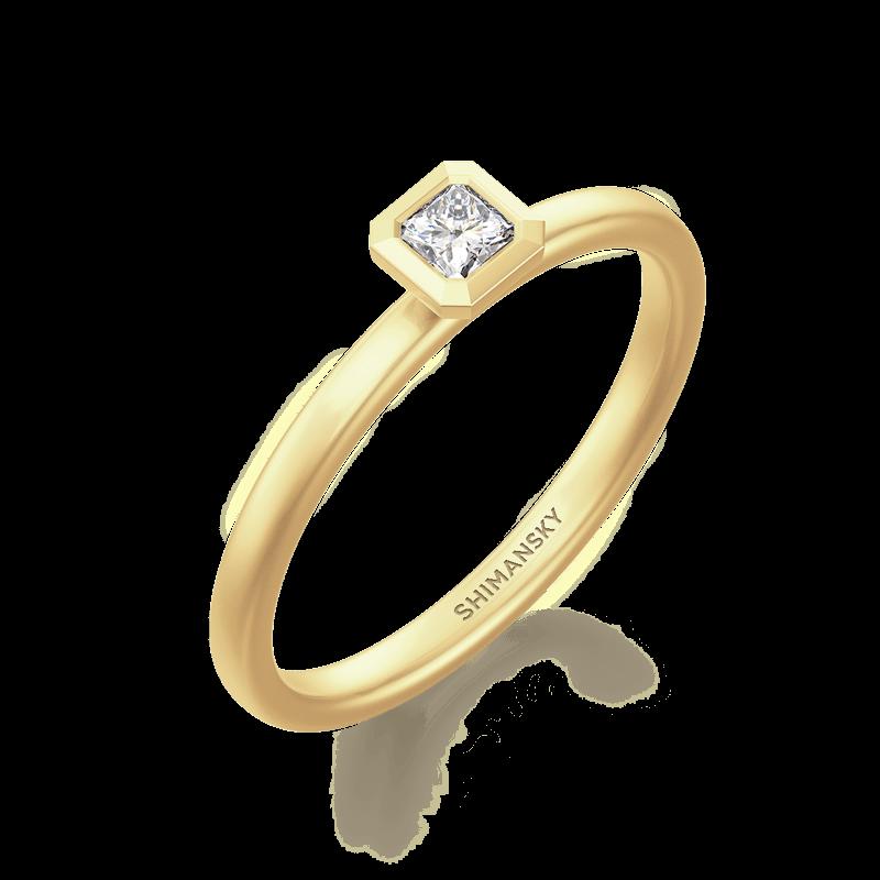 My Girl Tube Set Brushed Ring 18K Yellow Gold | Shimansky