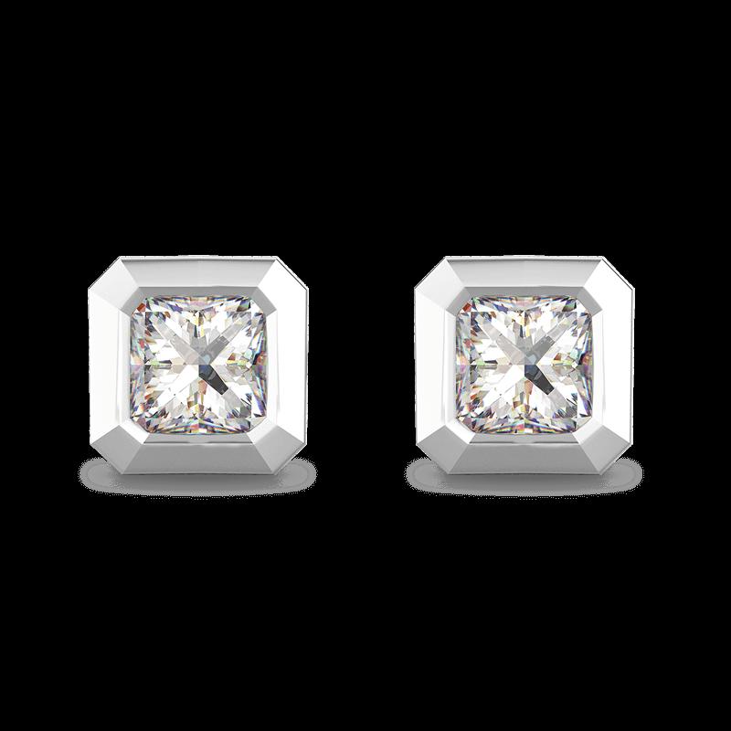 My Girl Tube Set earrings 18K White Gold | Shimansky