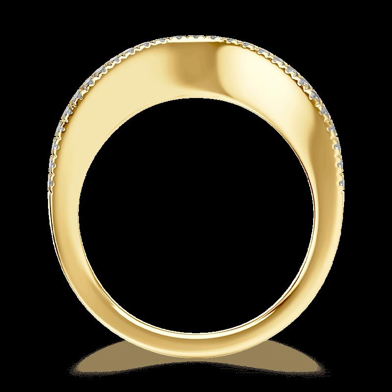 Silhouette micro set band 18k yellow gold | Shimansky