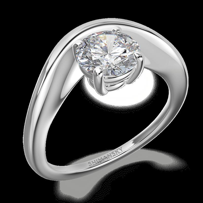 Silhouette single band ring 18k white gold | Shimansky