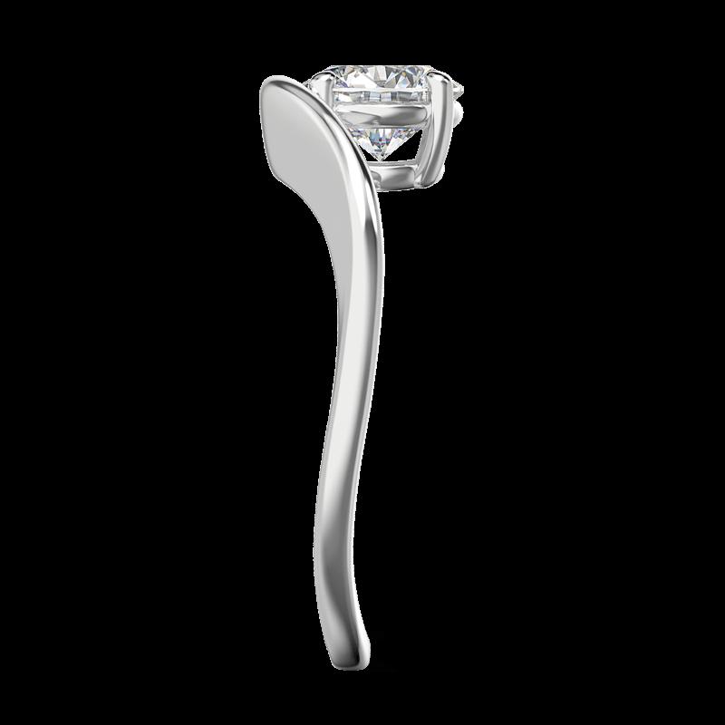 Silhouette single shank ring 18k white gold | Shimansky