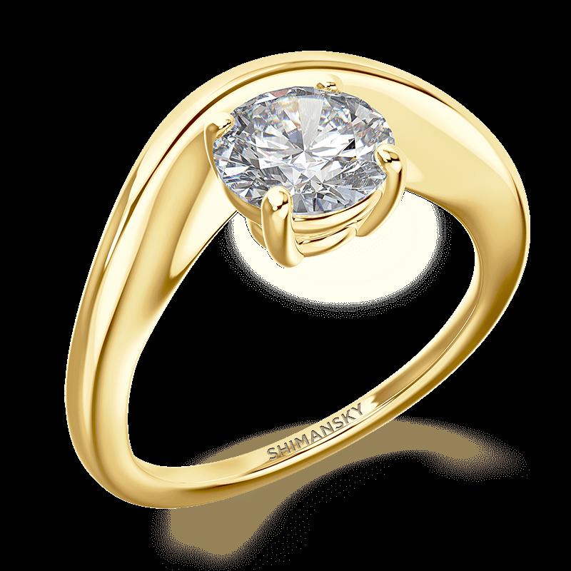 silhouette single shank ring | 18k yellow gold | Shimansky