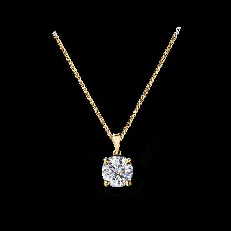 Solitaire Diamond Pendant 14K yellow Gold |Shimansky