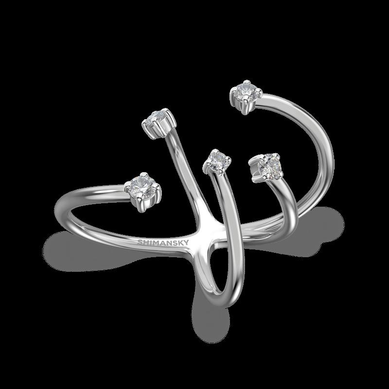 Southern Cross Claw Set Ring 18K White Gold   Shimansky