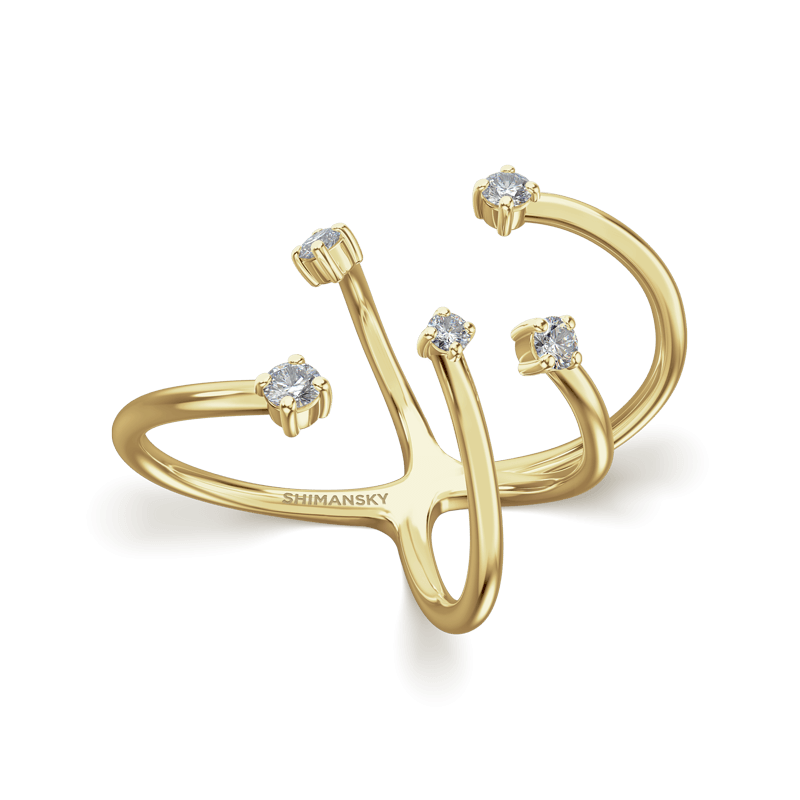 Southern Cross Claw Set Ring 18K Yellow Gold | Shimansky