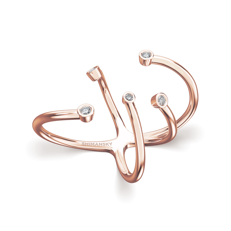 Southern Cross Tube Set Ring 18K Rose Gold | Shimansky