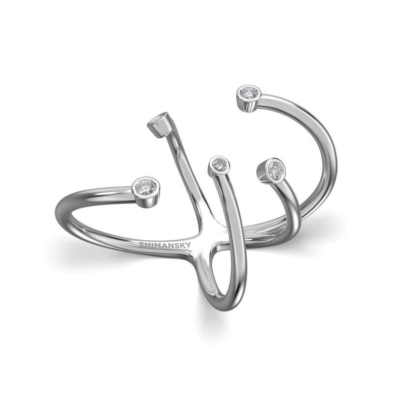 Southern Cross Tube Set Ring 18K White Gold | Shimansky