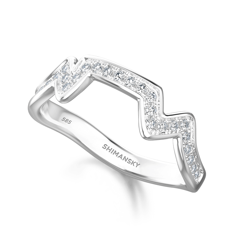 Table Mountain Ring with Diamonds 14K White gold | Shimansky