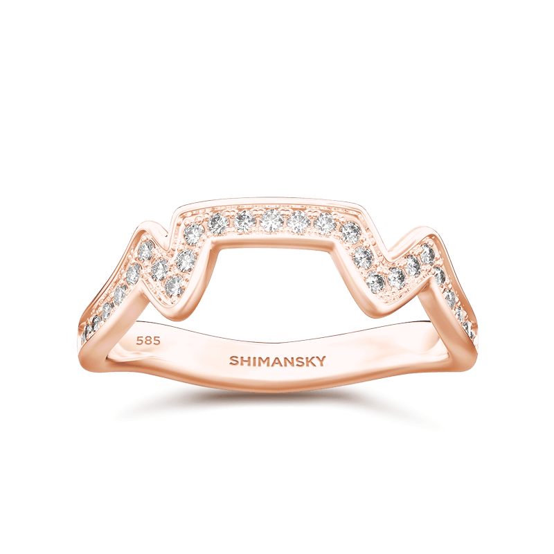 Table Mountain Ring with Diamonds 14K Rose Gold | Shimansky