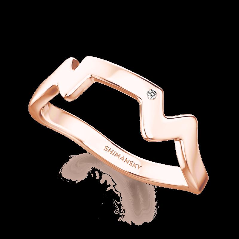 Table Mountain Ring with single Diamond | Shimansky