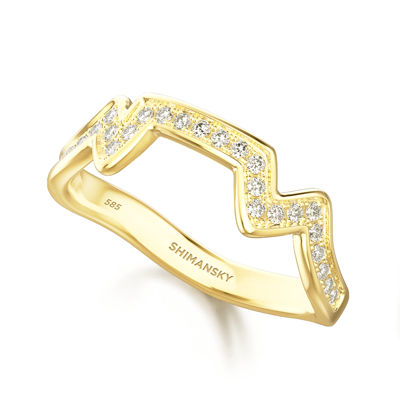 Table Mountain Ring with Diamonds 18K yellow Gold | Shimansky